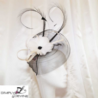 Black and ivory fascinator 13765